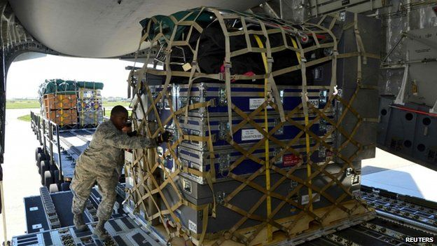 Pallet of equipment and supplies for Nepal loaded on to aircraft at Dover Air Force Base, Delaware. 28 April 2015