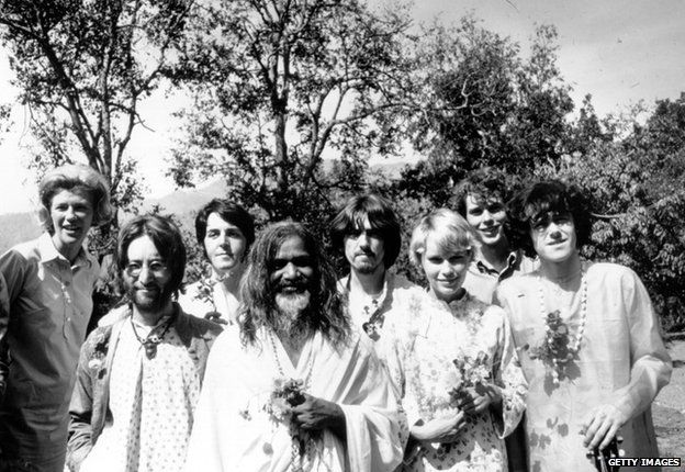 The Beatles at Rishikesh in India with the Maharishi Mahesh Yogi, March 1968.