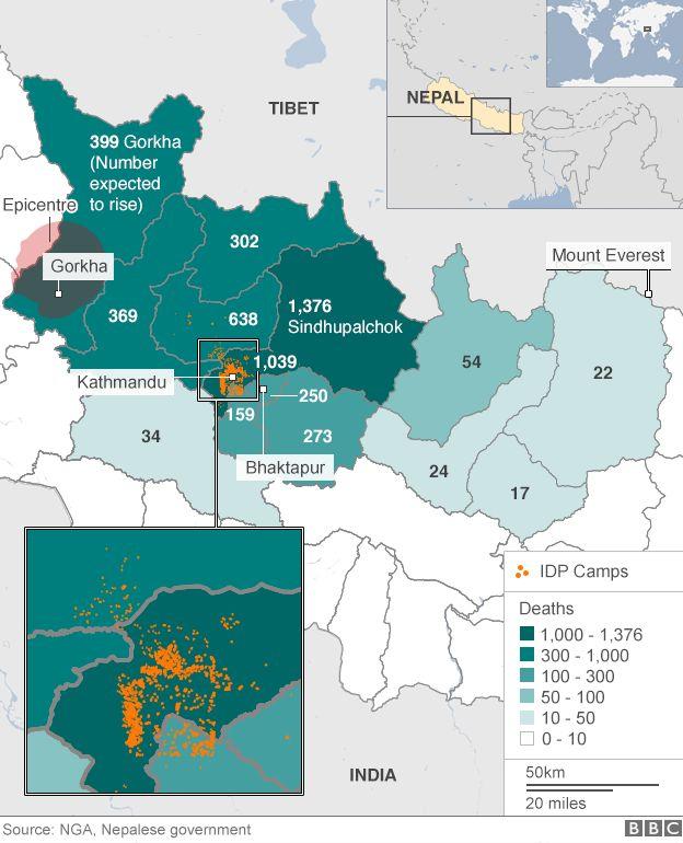 Mapa de Nepal mostrando as áreas afetadas pelo terremoto
