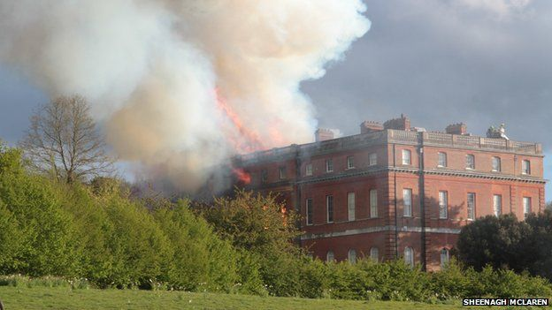 Clandon Park on fire
