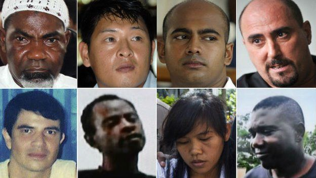 In this file combo photographs, eight foreign death row prisoners in Indonesia await execution by firing squad in Nusakambangan prison island. Top row from left, Ghanaian Martin Anderson, Australians Andrew Chan and Myuran Sukumaran, Frenchman Serge Atlaoui. Bottom row Brazilian Rodrigo Gularte, Nigerian Raheem Agbaje Salami, Filipina Mary Jane Fiesta Veloso, and Nigerian Sylvester Obiekwe Nwolise.
