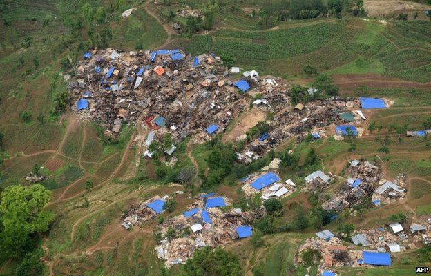Damaged houses are pictured from an Indian Army helicopter at Barpak village, in northern-central Gorkha district on April 29, 2015.