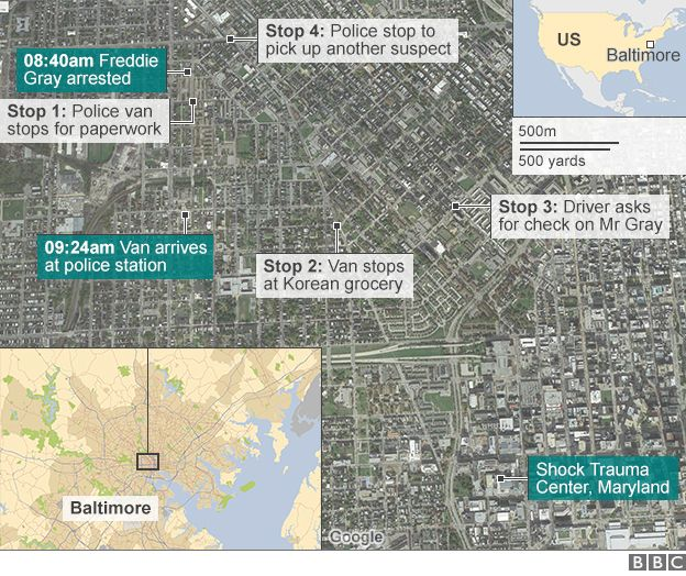 Map of Freddie Gray's police ride