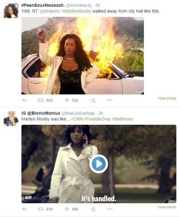 Tweets showing Mrs Mosby walking away from the scene