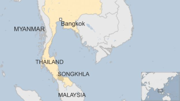 Map showing Songhkhla in Thailand