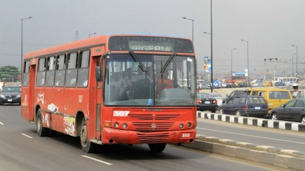 A red bus in Lagos, Nigeria