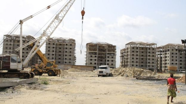 An estate being built on reclaimed land on Lagos Island and Ikoyi, Nigeria