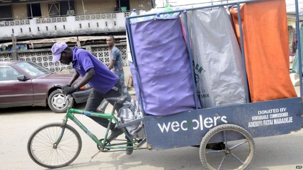 Wecycler cyclist in Lagos, Nigeria