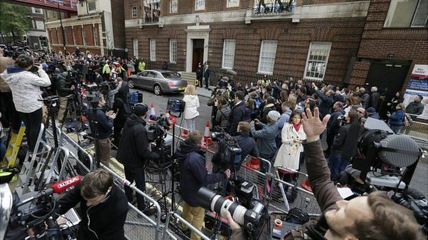 Crowds outside the Lindo wing