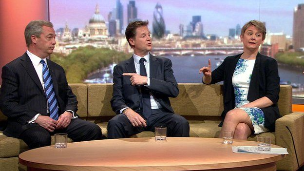 Nigel Farage, Nick Clegg and Labour's Yvette Cooper on the Andrew Marr Show