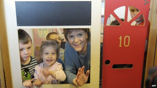 SNP leader Nicola Sturgeon during a visit to a nursery in west Lothian