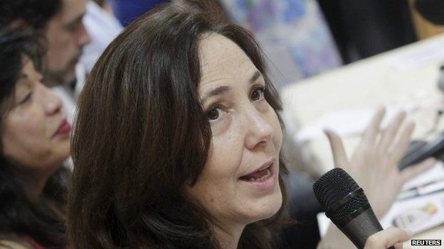 Mariela Castro, director of the Cuban National Centre for Sex Education, National Assembly member and daughter of Cuba's President Raul Castro talks to the media during a press conference in Havana, May 5, 2015.