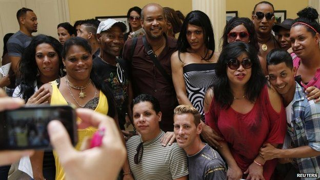 Members of Cuba's LGBT community pose for pictures - Havana, Cuba, Tuesday, May 5, 2015.