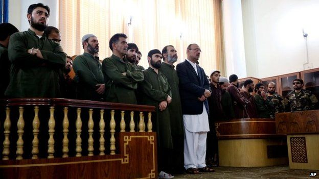 Defendants attend their trial at the Primary Court in Kabul, Afghanistan