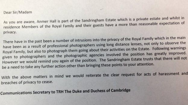 Letter to photographers regarding Duke and Duchess of Cambridge