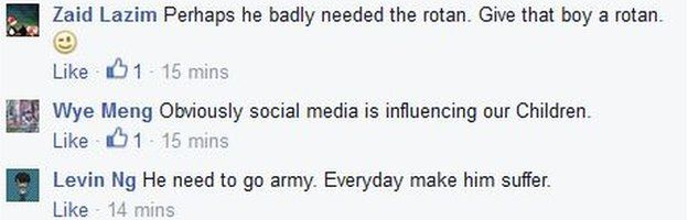 Screenshot of Facebook comments about Amos Yee on 6 May 2015