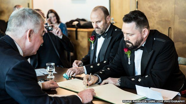 Peter Fraser and Gordon Stevenson getting married under UK law in Australia