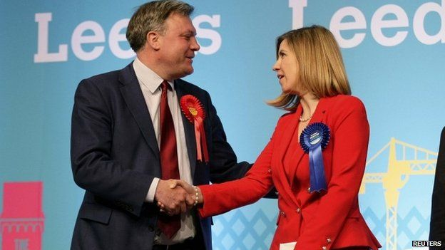 Ed Balls congratulates victorious Conservative candidate Andrea Jenkyns after losing his Morley and Outwood seat