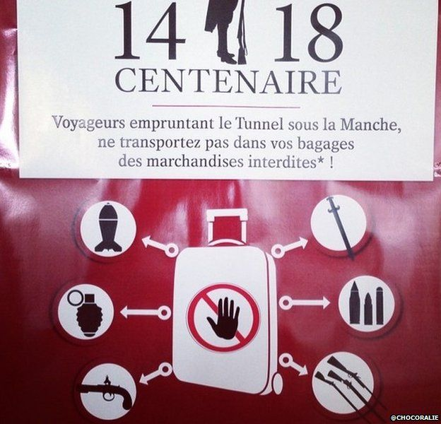 Picture by Twitter user Chocoralie showing banned items in Eurostar - August 2014