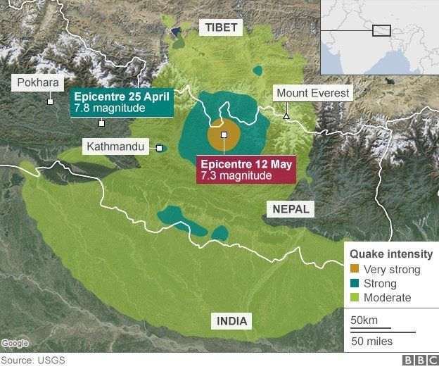 Map of Nepal showing April 25 and May 12 quakes