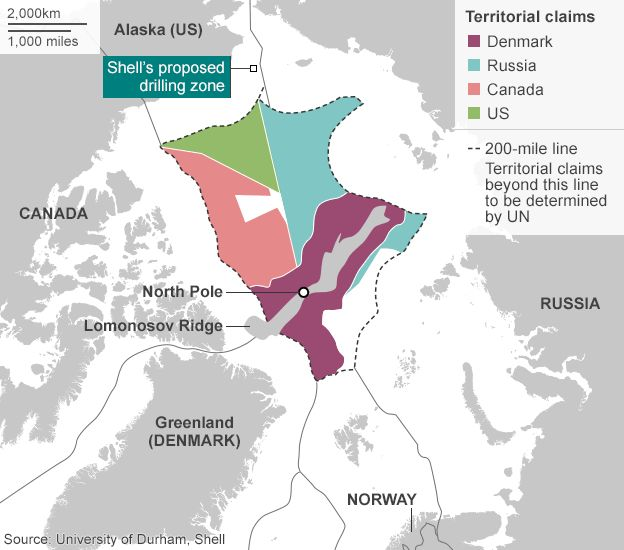 Map showing territorial claims to Arctic waters and US drilling site