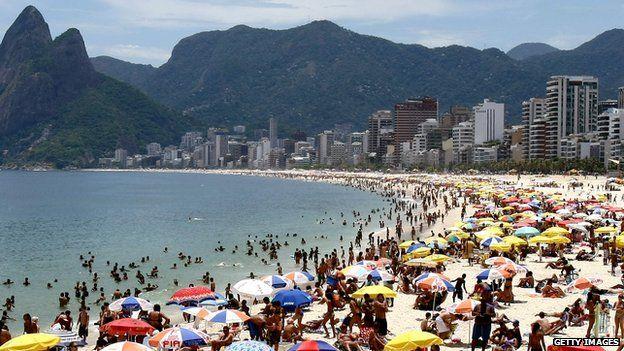 People on Ipanema Beach in Rio de Janeiro, Brazil