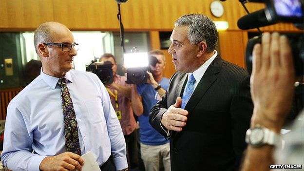 Australian Treasurer Joe Hockey briefs media on the 2015 budget in Canberra