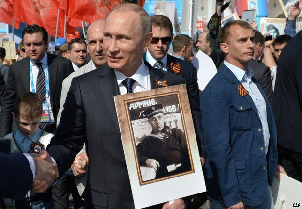 President Putin among marchers in Red Square (9 May)