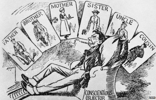 Postcard by Frank Holland from First World War period depicting a conscientious objector