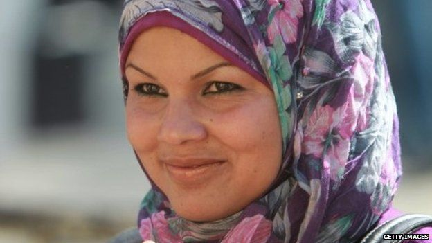 Samira Ibrahim attends a demonstration in front of the Saudi Arabian embassy in Cairo on April 24, 2012