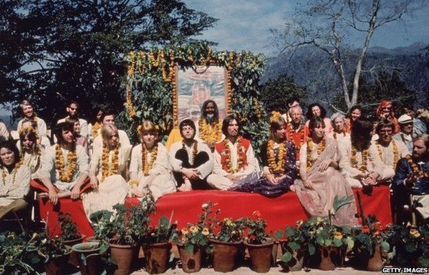 The Beatles and their partners at the Rishikesh in India with the Maharishi Mahesh Yogi, March 1968.