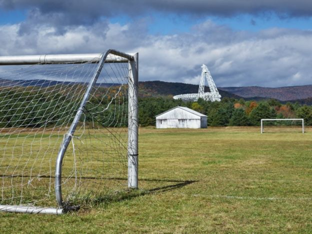 Football pitch with GBT telescope in the background