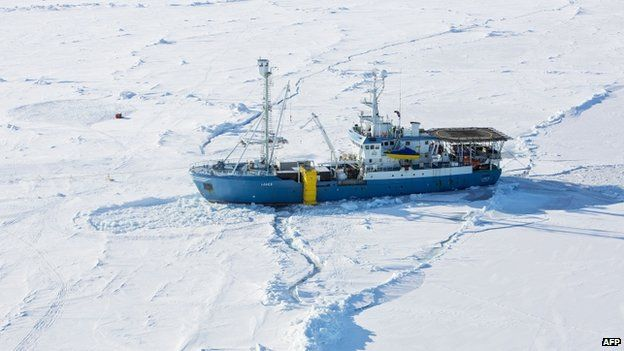 Norwegian research vessel Lance at 83 degrees north in the Arctic Ocean