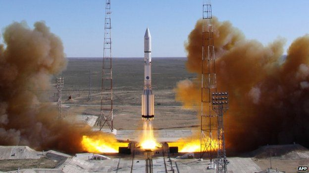 A Russian-built Proton rocket with a relay satellite blasts off from a launch pad in Kazakhstan (April 2014)
