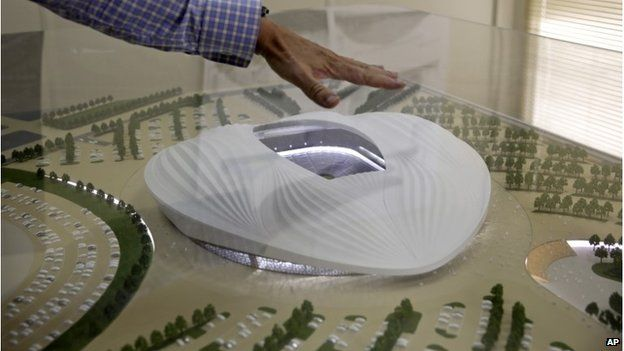 Model of al-Wakrah stadium, which is being built for the 2022 World Cup