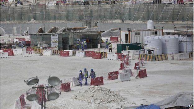 Workers building al-Wakrah stadium in Doha, Qatar, May 2015