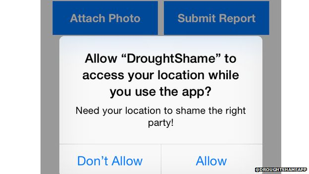 Screenshot of the location services on the Drought Shame app