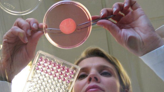 A scientist with skin cells