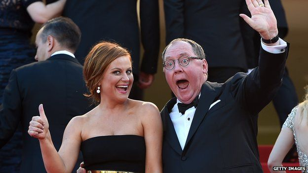 Amy Poehler and John Lasseter