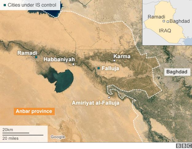 Map showing locations in Anbar province, including Ramadi and Habbaniyah