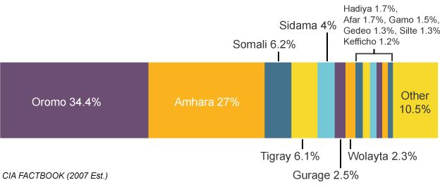 Chart showing ethnic groups of Ethiopian population