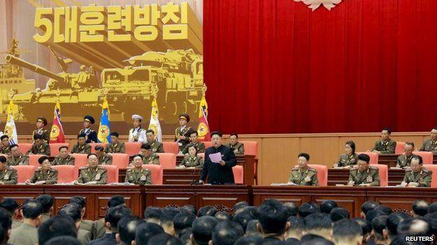 North Korean leader Kim Jong-un speaks to army officers in Pyongyang