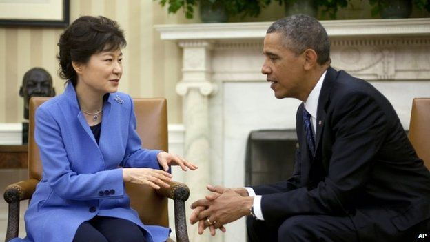 President Barack Obama, right, and South Korean President Park Geun-Hye, left, in May 2013