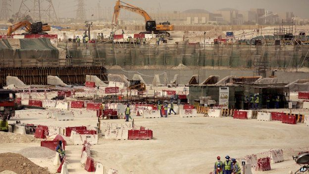 In this photo taken during a government organized media tour, laborers work at the Al-Wakra Stadium that is under construction for the 2022 World Cup, in Doha, Qatar, Monday, May 4, 2015