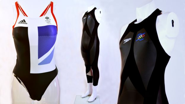 Women's Team GB Swimsuit (2012) and Men's LZR Racer suit (2008)