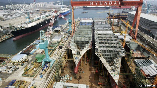Partially constructed ships at Ulsan shipyard in South Korea