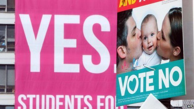 Banners encouraging voters to support the Yes and the No campaign in the Irish same-sex marriage referendum