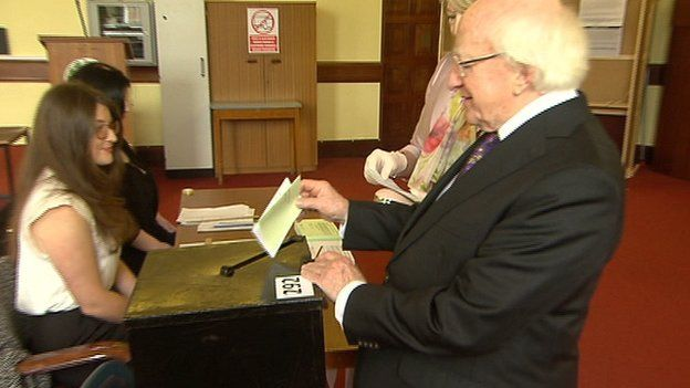 Irish President Michael D Higgins was among those who took the opportunity to vote