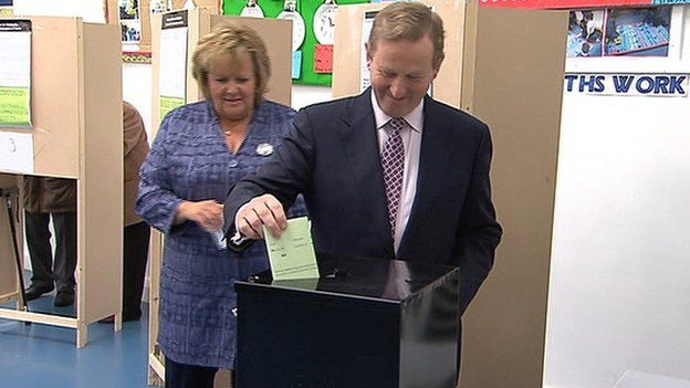 Irish Prime Minister Enda Kenny voted in Castlebar, County Mayo