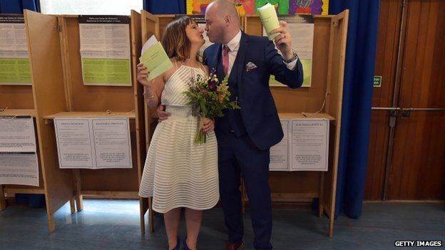 Newly married couple Anne and Vincent Fox were determined to take part in the referendum and voted in Dublin